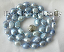 stunning 10mm baroque blue freshwater cultured pearl necklace m93