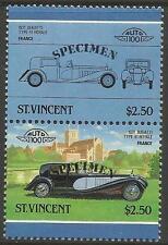 ST VINCENT 1986 CARS FRANCE 1931 BUGATTI TYPE 41 SPECIMEN Overprint PAIR MNH