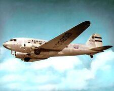 "HAWAIIAN AIRLINES DC-3 HONOLULU HAWAII 1955 8x10"" HAND COLOR TINTED PHOTOGRAPH"