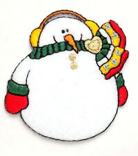 Snowman - Winter - Snowing - Heart - Embroidered Iron On Applique Patch