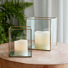Set of 2 Brass Terrarium Glass Lanterns with Battery Operated Wax LED Candles