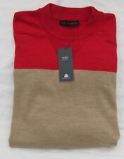 Ladies Marks and Spencer Red & Beige Pure Merino Wool Long Sleeve Jumper Size 20