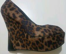 London Rebel Womans Animal Print Peep Toe Brown Wedges Shoes UK 5