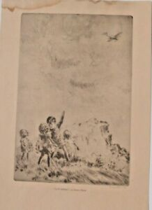 """Diana Thorne Hand-Signed Etching """"LIN'BERG""""_ChildrenPointing to Lindberg's Plane"""