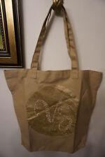 New Victoria's Secret Rhinestone Glitter Gold Vs Logo Canvas Tote Bag Tan Nude