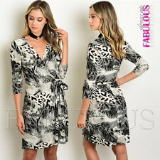 Sexy Soft Leopard Animal Print Wrap Dress Party Casual Size 6 8 10 12 XS S M L