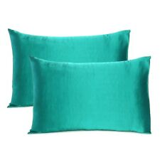 Teal 2 PC Solid Cushion Cover Rectangle Silk Satin Pillowcases for Hair and Skin