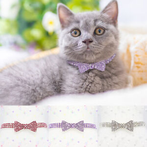 Bling Bling Crystal Cat Collar Necklace Elastic Rhinestone Cats Small Dog Collar