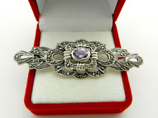 Beautiful Vintage Oval Cut Amethyst Pin Brooch 925 Sterling Silver Marcasite