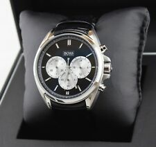 NEW AUTHENTIC HUGO BOSS DRIVER BLACK LEATHER CHRONOGRAPH MEN'S 1512879 WATCH