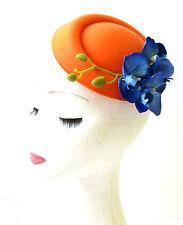 Orange & Blue Orchid Flower Pillbox Hat Fascinator Races Rockabilly 1950s 1169