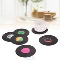 6Pcs Untersetzer Glasuntersetzer Vinyl Schallplatte Silikon Disc Coaster Retro