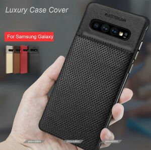 Slim Leather Protective Case + Screen Protector For Galaxy S8 S9 S10 Note 10 8 9