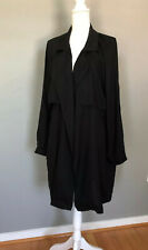 Anthropologie Cloth & Stone Size LARGE Black Trench Coat Duster NWOT