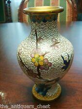 Antique Chinese vase Cloisonne Flowers on crackle white  background, c1920s [11c