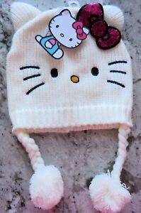 Sanrio Hello Kitty White Knit Hat with Red Glitter Bow ( NWT)