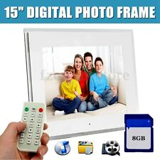 "15"" LED Full HD Digital Photo Frame Picture Movie Player+Remote+Free 8G SD Card"