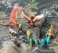 14 PC  Vtg PVC Dinosaurs Lot Hollow Vinyl Plastic Hong Kong China CA