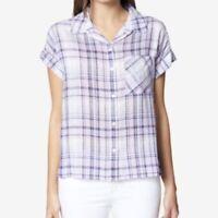 Sanctuary Women's Purple Plaid Mod Short Sleeve Boyfriend Button Down Shirt NWT