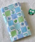 Handcrafted, Flannel, Blue Animal Print & White Bubble Minky, Baby Burp Cloth