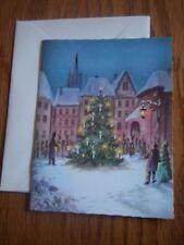 RARE Vintage Town Christmas Tree Lighting Christmas Card Alfred Mainzer Belgium