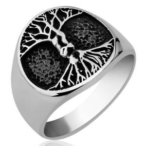 Solid 925 Sterling Silver Life Tree Men's Ring