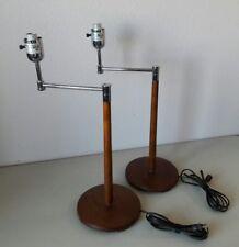 VINTAGE THOMAS O'BRIEN MODERN WOOD TABLE DESK LAMPS SLEEK DESIGN