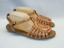 Heavenly Comfort Women Size 9.5 N Padded Brown Tan Leather Huarache Sandal Shoes