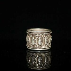 Chinese Old Tibetan silver carved Zodiac rotate Ring
