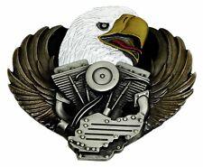 Biker Belt Buckle American Eagle & V Twin Motorcycle Authentic Dragon Designs
