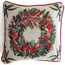 2 X CHRISTMAS GLITTERY HOLLY GARLAND GLITTERY TAPESTRY CUSHION COVER £9.95 SET