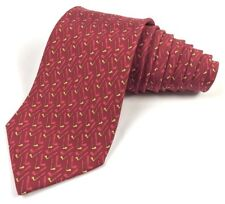 Salvatore Ferragamo Neck Tie Red With Golf Clubs 100% Silk Made In Italy