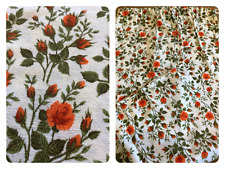 "Vintage Curtains Retro 1950's Barkcloth Floral Camper Fabric (37 1/2"" D x 43"" W)"