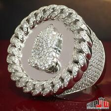 Mens White Gold Finish .925 Silver Iced Out Cuban Link Bezel Ring Praying Hands