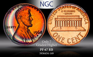 1968-S LINCOLN MEMORIAL U.S 1 CENT NGC PF 67 RB TONED ONLY 7 GRADED HIGHER