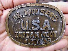 Vtg OLD BOTTLE Belt Buckle DR WONSER Indian Root Bitters ELIXIR Medicine RARE VG
