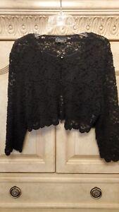SHRUG/BOLERO - Dressbarn Collection, Semi Sheer Lace Jacket, Black, Size XL