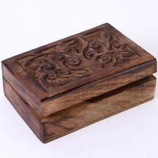 CARVED TREE OF LIFE WOODEN TRINKET BOX HINGED, GIFT IDEA, LEAF DESIGN