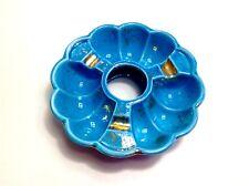 """VTG Ashtray Blue Gold Cali Pottery Ceramic Tobacco USA 6.5"""" Mod Retro VTG"""