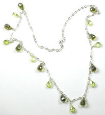 Necklace with Shades of Green Briolette Crystals Sterling Silver