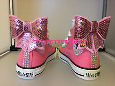 Custom Crystal Diamante Bling White Pink Wedding Converse Size UK 3 4 5 6 7 8 9