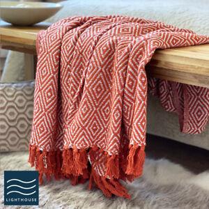 Luxury Eco Friendly Rust Burnt Orange Abstract Diamond Sofa Throw Blanket Large