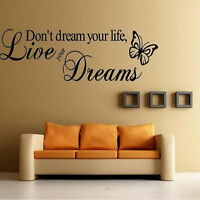 Removable Quote Word Decal Vinyl DIY Home Decor Art Wall Stickers Bedroom New H