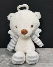 "Hallmark My Guardian Angel Bear 9"" Plush White w Stripes Baby Lovey Stuffed Toy"