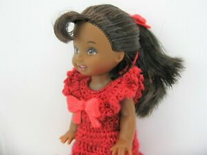 KELLY Doll African American in a globe Handmade crochet red Dress All Inclusive