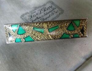 vintage PIERRE BEX art deco style green enamel gold tone brooch -A306
