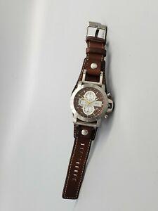 FOSSIL JAKE JR-1157 Chronograph Men's Watch Brown Dial NewBattery RunsGreat 45mm