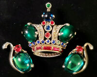 Vtg d-Parure TRIFARI A. PHILIPPE GOLD-Plate Sterling CROWN BROOCH & EARRING SET