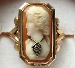 EXQUISITE GIFT! HAND MADE ART NOUVEAU 14K GOLD CAMEO RING w/ DIAMOND SIZE 5.5