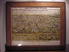 Antique Birds Eye View of Holy Jerusalem Rand McNally Souvenir Tourist Map